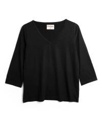 black three-quarter sleeves top colour True Black